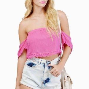 50357371b77 Tobi Tops   Pink Strapless Off Shoulder Crop Top W Lave Trim   Poshmark